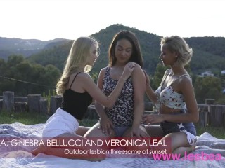 Lesbea Public sunset 3some veronica leal, ginebra bellucci and nancy a