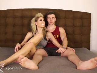 SUPER popular HUNG jock has big tit blonde try anal toys on him, then FUCKS