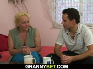 hot hairy busty blonde nasty granny gives head and plays with his big cock