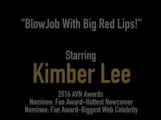 Red Lipstick Dick Sucking Kimber Lee Sucks A Throbbing Hard Cock & Gets Cum