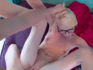 Nerdy bubble but blonde gets pounded and facialed - Trueamateur