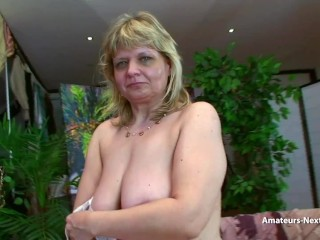 Mature with saggy tits fucked by younger