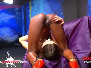 Super hot black babe Zara and hot stepmom with glasses Manu gets fucked