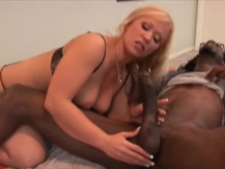 Blonde Milf cums hard and get stretches by big black cock