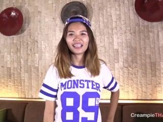 thai small teen smile with braces gets creampied
