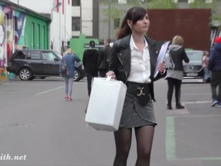 High heels and mini skirt flashing in Moscow by Russian cute woman