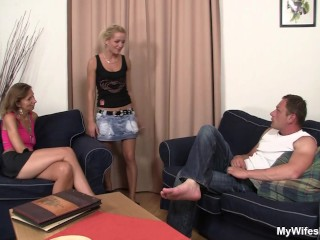 hairy mother-in-law plays with big cock and his wife watches