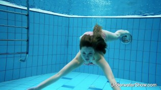 Simonna sexy Russian teen swims naked with hairy pussy and bubble ass