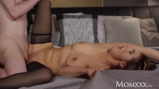 MOM Russian brunette Dominica Phoenix gets creampie from younger lover