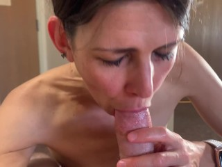 Sexy lover bj in resort with cum in oral CIM Sexy milf POV