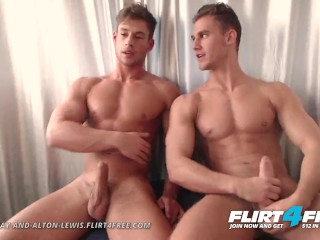 Flirt4Free - Aiden and Alton - Hot Muscle Studs Jerk Monster Cocks Together