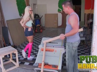 public handjobs - bad girl tiffany watson makes daddy's best friend cum