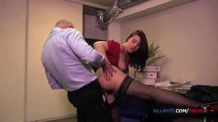 French brunette seduces her boss and gets fucked in the ass
