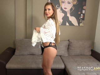 The blonde babe strips out of her sexy lingerie and fucks a dildo