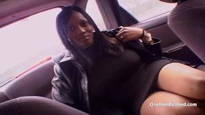 Huge boobed black British chick