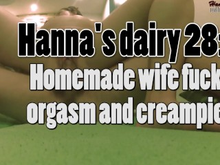 Hanna's dairy 28: Homemade horny wife fuck, orgasm and creampie.