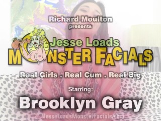 Cute teen Brooklyn Gray loves sucking cock and big facials
