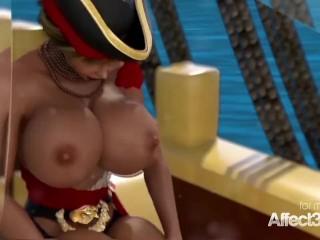 3D futanari lesbian pirates fantasy