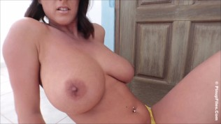 Sexy Stacey Poole uncovers her big melons in the terrace
