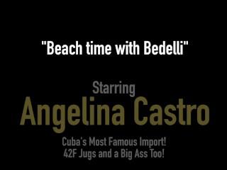 Huge Ass Angelina Castro & Bedeli Buttland Dildo Drill On Beach!