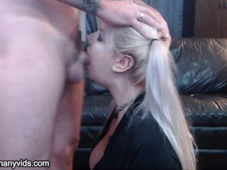 pigtailed blonde gets her throat trained and her face fucked