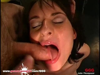Sexy brunette babe loves eating sperm while her ass is fucked bareback