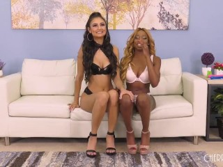 Lesbian Babe Pussy Eating and Tribbing Big Tits Ebony in Live Show