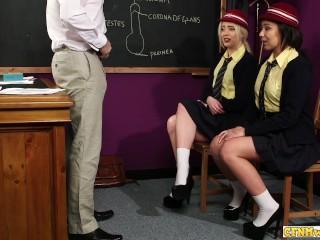busty schoolgirl sluts sucking on teachers cock