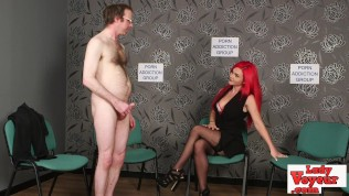 loser jerks off while staring at stripped whore