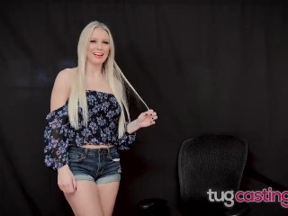 TUG CASTING - Busty Bimbo Kenzie Taylor Gets Her Boobs Covered In Cum