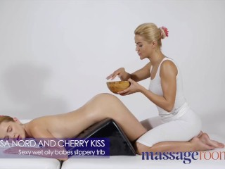 Massage Rooms sexy oily babes cherry kiss and kaisa nord slippery wet trib