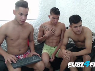 Flirt4Free - Tony, Michael and Wilfred - Latino Studs Barebacking Threesome