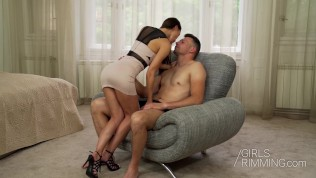 brunette lilu moon giving a rimjob and has an intense orgasm