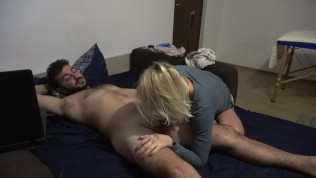 Foot job,blowjob & cum on face -what a day !!