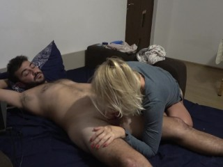 Foot job,cock licking & cum on face -what a day !!