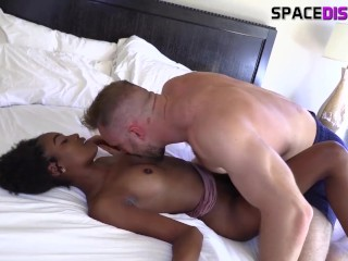 popular hairy hunk makes hot petite red head whore cum on his big cock