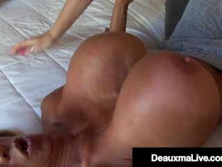 Boiling hot Sexual Milfs Deauxma & Minka Trib Pound Their Soaked Juicy Pussies!
