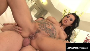 Hot Tattooed Brunette, Lily Lane Get Her Tight Little Butthole Banged!