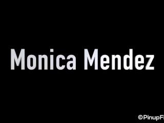 Busty MILF Monica Mendez strips for social media