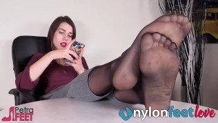 feet in nylons in your own face while she ignores you