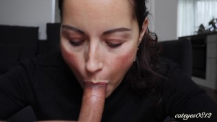 Deepthroat and cumshot face