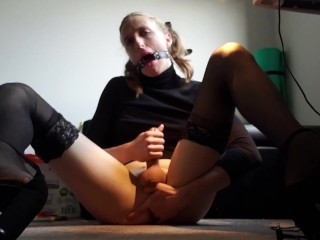 Nasty Trans Whore Slobbers on a sex toy and eats her cum