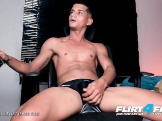 Flirt4Free - Fran Klin - Latino w Monster Cock Opens His Legs to Play w Ass