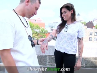 Shake The Snake - Inked Babe Deal With Huge Tattooed Dick