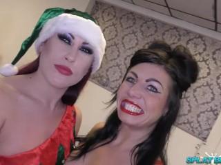 Xmas bukkake facials for UK sluts Gina Jameson and Tyla Moore