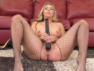 Gorgeous Blonde Babe in Fishnet Solo Masturbates With Vibrator