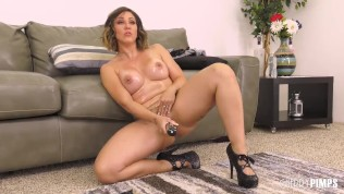 Big Tit European Brunette Titty Fucked and Pounded Hard in a Live Show