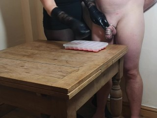 Chastity Release - First Ruined orgasm for the xmas ice cube challenge