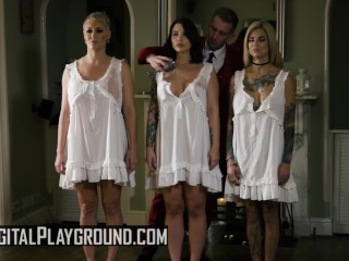 Digital Playground - 3 hungry sluts share one load in foursome