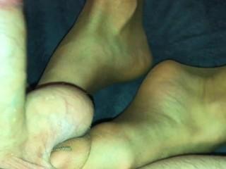 Amateur footjob #40 nylon socks ballbusting and kicking, cum in sock